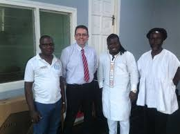Rev Agyarkwaa on the left with President Obour and Daddy Bosco with a British Council official