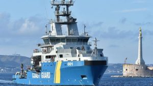 The Swedish coastguard ship Poseidon, pictured after a migrant rescue operation earlier this summer, is part of an EU-led mission in the Mediterranean.