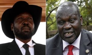Mr Kiir (left) snubbed the treaty last week which was signed by his rival Riek Machar.