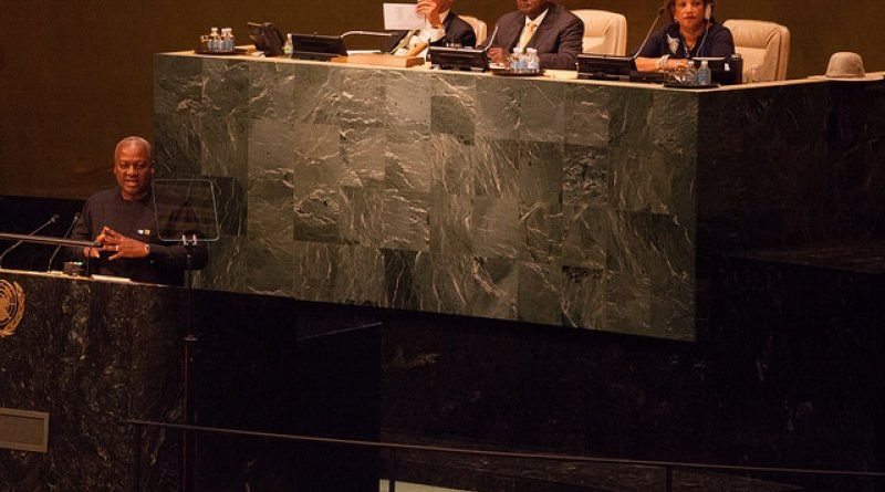 Mahama addressing the UN Summit in New York