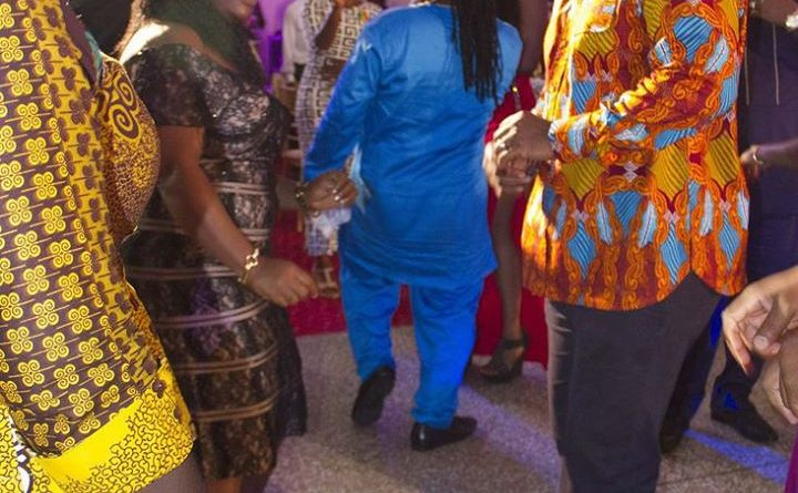 President Mahama dancing with  ex-MUSIGA President Diana Hopeson