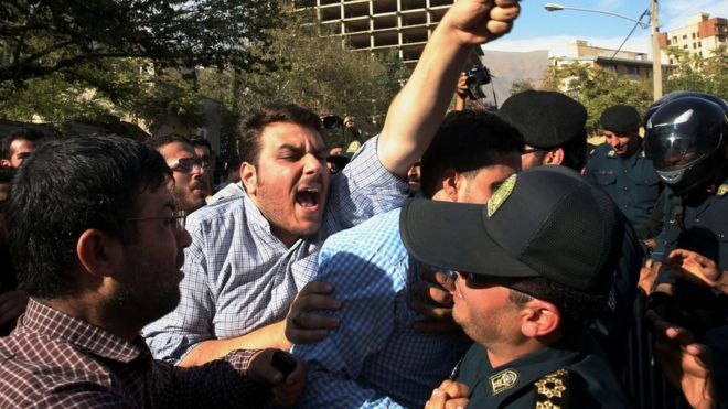 Iranians have protested outside the Saudi Arabian embassy in Tehran over the disaster