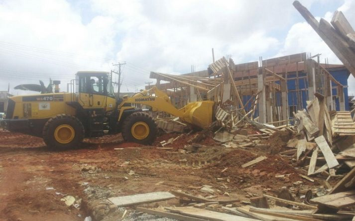 KMA's Bulldozer Demolishing Developing Structure At Aboabo