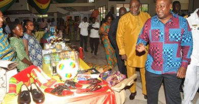 President Mahama and Dr Ekwow Spio-Garbrah inspecting some Made in Ghana products on exhibition