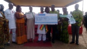 Ibrahim Musa Displaying His Cheque