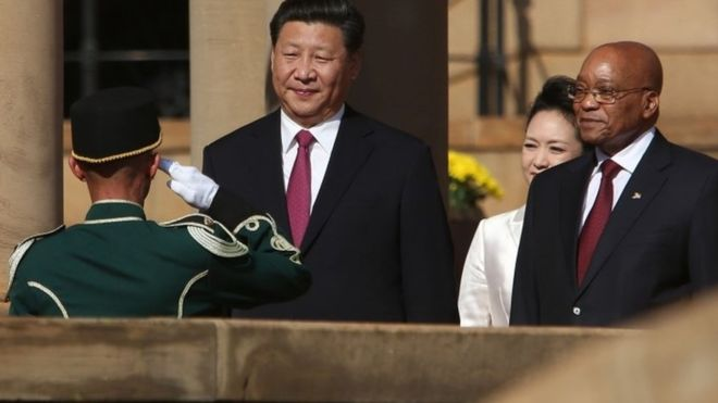 Chinese President  Xi Jinping and South Africa's President Jacob Zuma in  picture  photo credit BBC