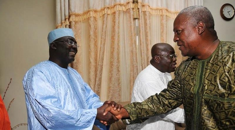 Dr Bawumia (left) in a handshake with President John Mahama