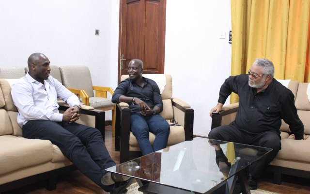 Former President Rawlings Chatting with  Stephen Appiah, Campbell