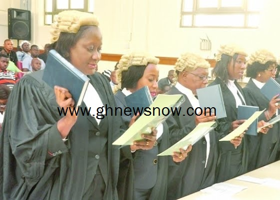 Chief Justice Theodora Georgina Wood administering the oath to the newly-called magistrates and circuit court judges at a ceremony in Accra