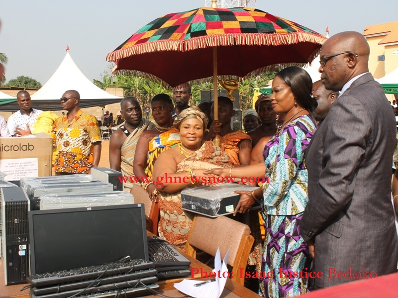 Ashanti Regional Director of Education, Mary Owusu Achiaw taken delivery of Computers From  Traditional Authorities At Esano