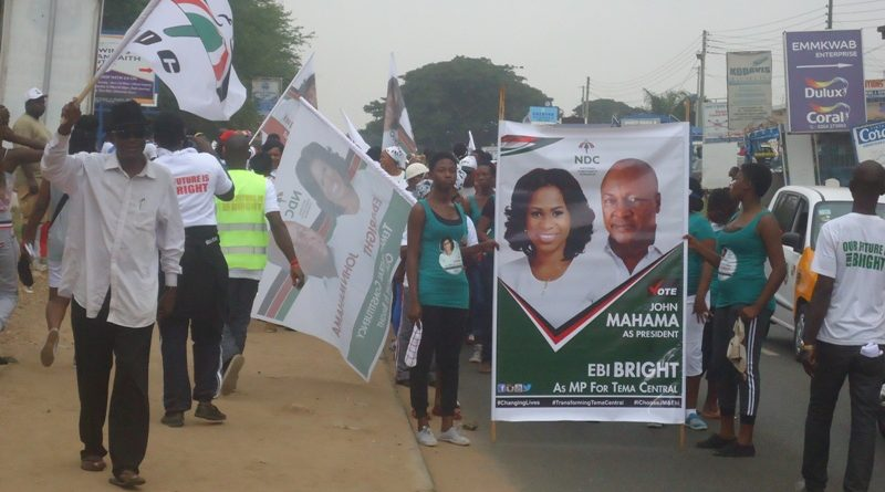 Supporters of the NDC, Tema Central, during the health walk