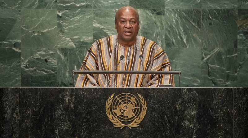 John Dramani Mahama, President of Ghana, addresses the general debate of the General Assembly's seventy-first session. UN Photo/Cia Pa