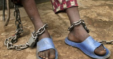 15 year old Alpha has two chains on his feet, one of them chained to a chair which he carries with him for 24 hours a day.  He is detained in the 'City of Rest', a rudimentary counselling and mini rehabilitation centre for recovering drug addicts, alcoholics and traumatised or delinquent youths.  It is run by a pastor who attributes the centre's success to the extensive rest, food and prayer.