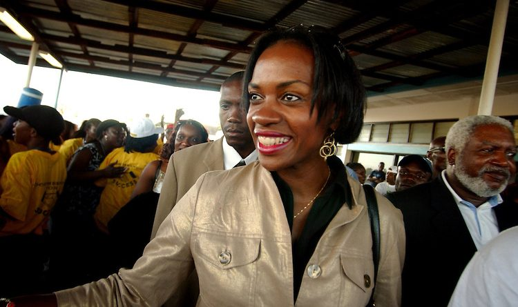 Clar Weah, wife of presidential candidate George Weah, arrives at Robert's International Airport in Harbel, Liberia on Oct. 5, 2005.  The family lives in Fort Laurderdale, FL., Clar has come to help support her husband in the last week of campaigning, the elcetion is on Oct. 11.