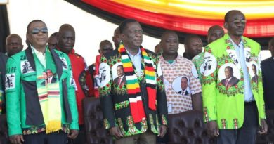 President Mnangagwa (centre) was campaigning ahead of elections next month