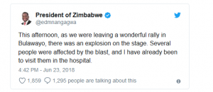 President of Zimbabwe Tweet