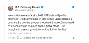 The US Embassy in Harare condemned the attack.