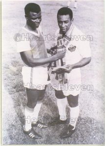 On the 6th February, 1969, Accra Hearts of Oak were held to a 2-2 drawn game by a Pele-led Santos FC of Brazil in an international friendly at the Accra Sports Stadium. Photo Courtesy: heartseleven