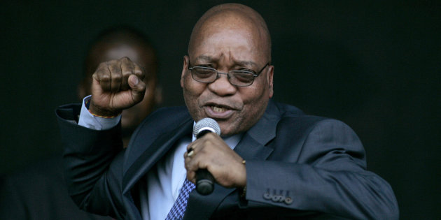 Jacob Zuma, leader of South Africa's ruling African National Congress (ANC), sings for his supporters at the Pietermaritzburg high court outside Durban August 4, 2008. Zuma appeared in court on Monday to push for the dismissal of a corruption case that could stop him becoming president next year. Over 1,000 supporters demonstrated outside the high court in Pietermaritzburg to denounce charges they say are politically motivated and to try to stop Zuma from being put on trial later in the year. REUTERS/Siphiwe Sibeko (SOUTH AFRICA)