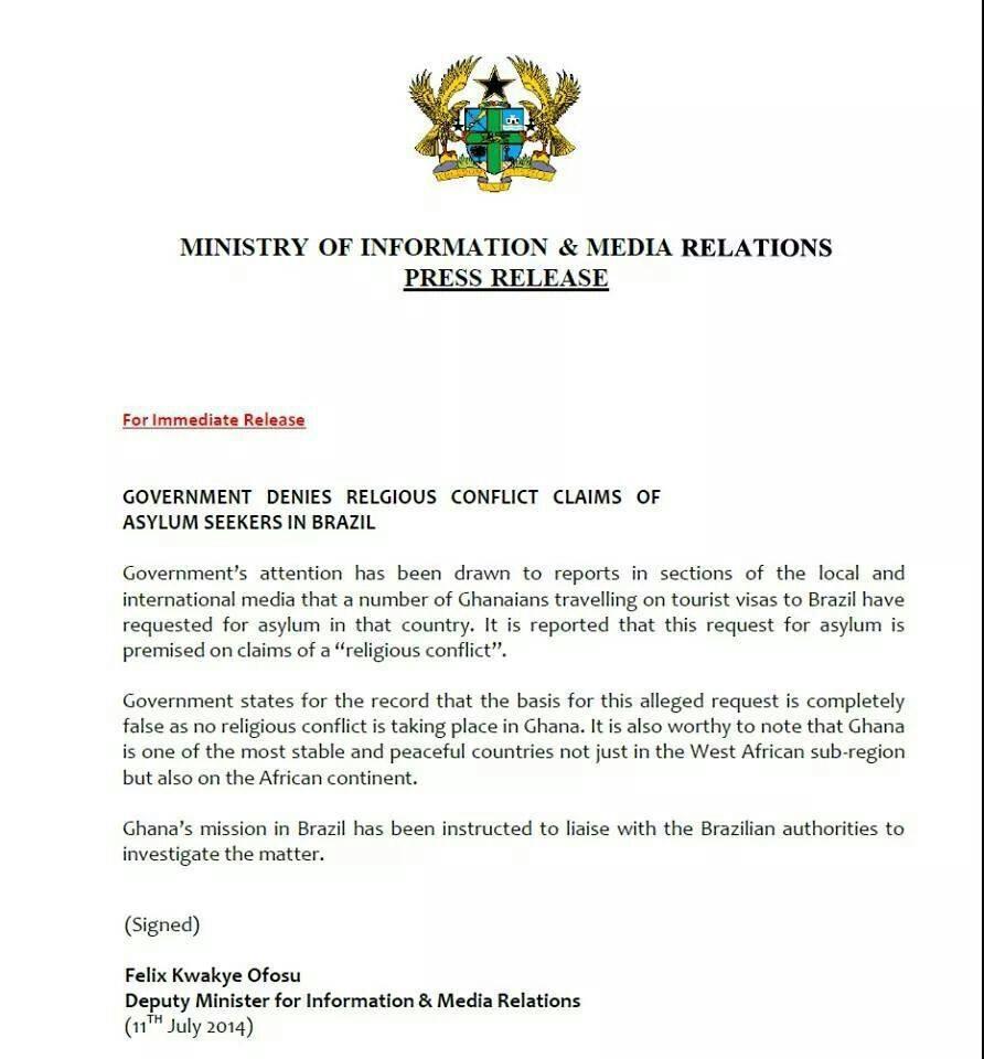 Brazil Asylum press release