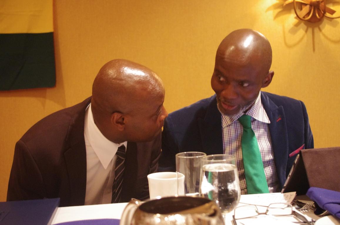 NPP - New York Vice Chairman Kwame Agyemang Budu sharing a point with Gabby Otchere-Darko