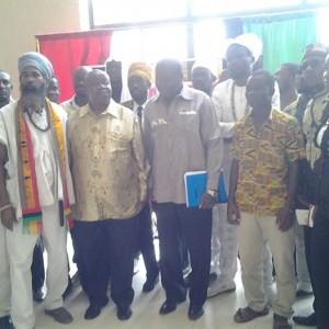 Ambassador Quartey and Maj Gen Otafire with members of the Rastafari Council