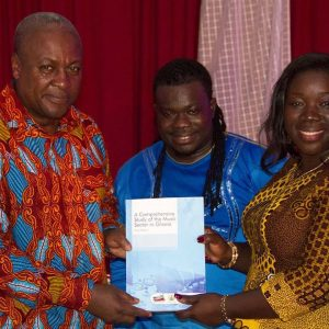 President Mahama, Bice Osei Kuffour and Mrs Elizabeth Ofosu-Agyare, Minister of Tourism, Culture and Creative Arts