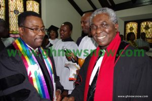 Rev. Frimpong Manso in a handshake with Dr. David Ofori, past Moderator, New York City Presbytery (PCUSA)