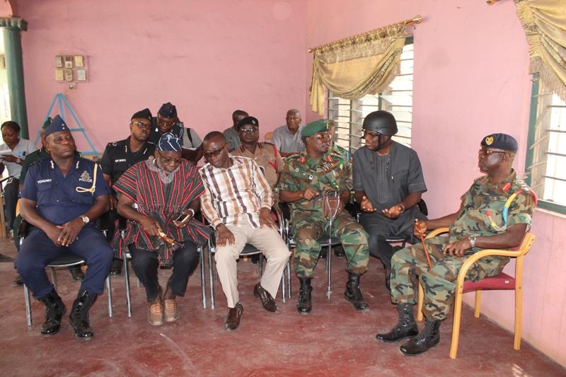 Members of the Ashanti regional security council at Old Tafo Chief Palace in Kumasi