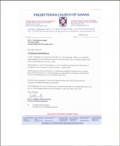 Letter of transfer of Rev. Frimpong-Manso from PCG to PC-NYC