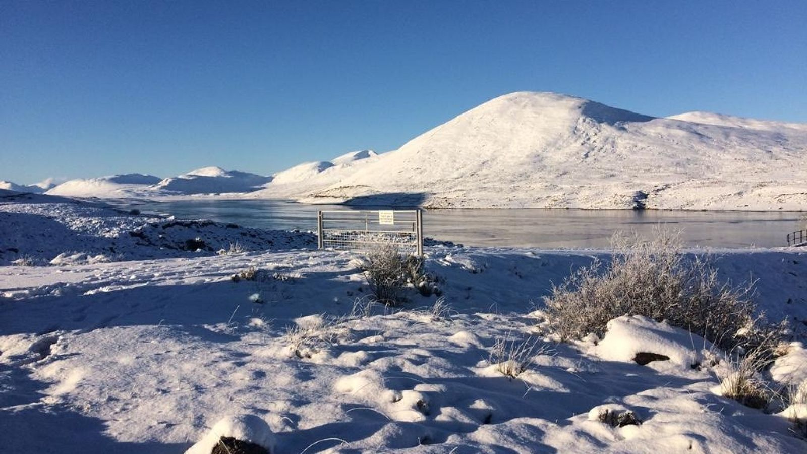 Snow in Ullapool, north Scotland, where temperatures dropped to -10C (14F) on Saturday. Pic: Bridget Oeppen