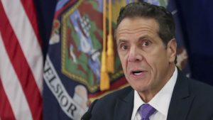 New York Gov. Andrew Cuomo addresses a regional summit of governors on public health issues around cannabis and vaping, Thursday Oct. 17, 2019, in New York. (AP Photo/Bebeto Matthews)